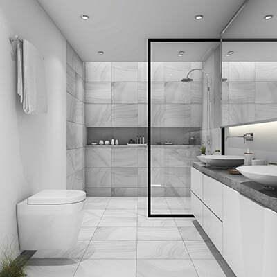 Ett modernt och renoverat badrum.